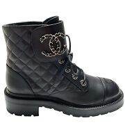 Nib 2021 Black Leather Combat Boots 37 Eur Size Shoe Brooch Motto Quilted