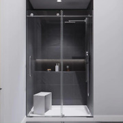 Anzzi Shower Door Leon 48 In. X 76 In. Frameless Sliding In Chrome With Handle