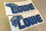Lowe Vintage Fishing Boat Decal Blue Silver 12 2-pk Free Ship + Free Fish Decal