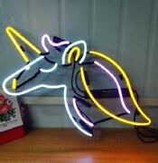 Unicorn Neon Sign Light Acrylic 17x14 Real Glass Bar Decor With Dimmer Q248