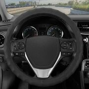 Bdk Genuine Black Leather Steering Wheel Cover For Small 13.5 - 14.5,