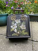 Rare Victorian Japanned Ornate Coal Scuttle And Shovel