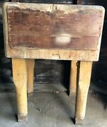 Antique Large Butcher Block Maple Table Very Heavy Circa Early 1900and039s