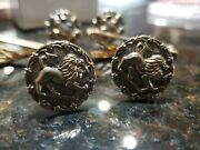 Antique Gold Cuff Links And Tie Clips