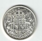 Canada 1952 Narrow Date 50 Cent Half Dollar George Vi Canadian .800 Silver Coin