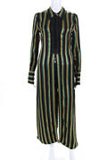3.1 Phillip Lim Womens Striped Long Sleeve Tunic Shirt Red Green Size 0 11621172