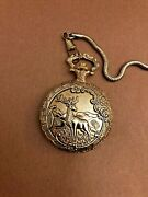 Milan Tarnished Gold Tone Men's Pocket Watch With Etched Elk Workin