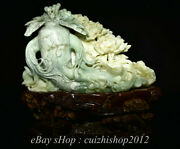18 Chinese Natural Xiu Jade Hand Carving Feng Shui Ginseng Wealth Sculpture