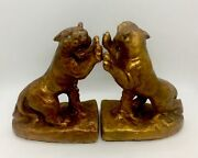 """Vintage Roaring Tiger Bookends Statues Jeweled Eyes 6"""""""