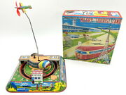 1950 Made In Japan Airplane Around The Train Tinplate Toy Spring Published By