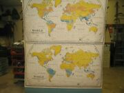 Vintage Nystrom Pull Down Map Of World, Summer And Winter Rainfall And Winds Rare