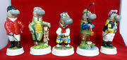 Hippopotomus Figurines 5 Incredibly Detailed Handmade English Porcelain Oop