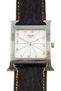 Hermes Womens Leather Solid Stainless Steel Heure H Watch Silver One Size