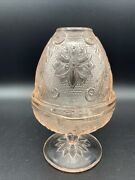 Vintage Tiara Indiana Glass Pink Peach Daisy Fairy Lamp Candle Holder