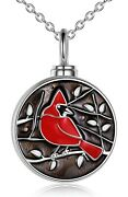 Sterling Silver Cardinal Red Bird Round Pendant Urn Necklace For Ashes 18 Chain