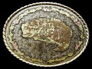 Id03105 Vintage 1970s Oval-shaped Large Mouth Bass Silvertone Buckle