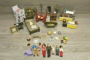 Lots Of Vintage Miniature Doll House Furniture And Accessories Over 65pc Tomy T1
