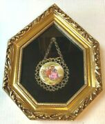 Vtg Victorian Man And Woman Broach With Hooked Chain In Shadow Box Picture Frame