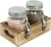 Farmhouse Kitchen Salt And Pepper Shakers Set Mason Jar With Wood Rustic Caddy