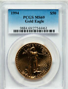 1994 50 Gold Eagle Pcgs Ms69 Only 22 Coins In Ms70
