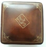 Vintage Playing Cards Liberty London Leather Case And Patience 44x32mm Cards 1960