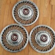 Vintage Cadillac Spoked Hubcaps Wheel Covers 15 Very Nice Set Of 3