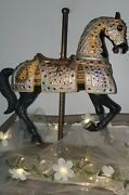 Impulse Giftware - Lg Size Porcelain Carousel Horse With Brass- Carmel C 1900and039s