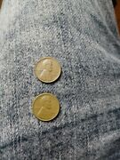 2 1944 Lincoln No Mint Mark Wheat Back One Cent Penny Coins Good Condition