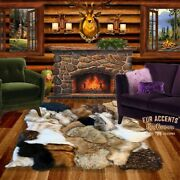 Plush Faux Fur Tan Golden Brown Wolf Bear Rug Ultra Suede Lining Fur Accents