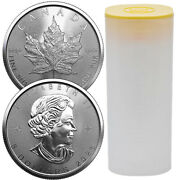 Roll Of 25 - 2021 1 Oz Canadian Maple Leaf .9999 Silver Bu Coin 25 Coins New