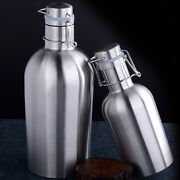 2pcs 1and2l Beer Growler Bottle With Flip Top Stainless Steel Hip Flask Silver