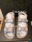Womenandacutes Footbed Sandals 2021 Ss Silver Caviar Skin Leather Used 551/mn