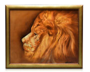 Lion Painting By William Verdult 33.5 X 27.5 Framed Art Oil On Canvas