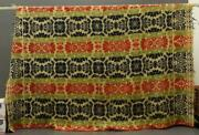 Antique Woven Reversible Coverlet Red Blue Green Tan 100x80 Trappe Pa 1842
