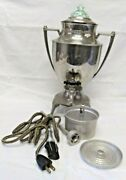 Vintage Royal Rochester Electric Percolator No 4 Green Vaseline Glass In Lid