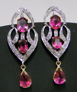 Rubellite Tourmaline And Diamond Gold Earrings 14 K Solid Gold Chandelier Jewelry
