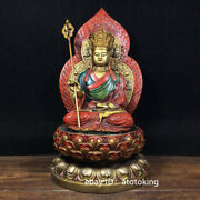 11.6 Chinese Antiques Pure Copper Painted Earth Store Bodhisattva Buddha Statue