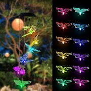Color Changing Led Solar Hanging Butterfly Andhummingbird Mobile Wind Chime Lights