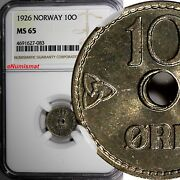 Norway Haakon Vii Copper-nickel 1926 10 Ore Ngc Ms65 Top Graded By Ngc Km 383