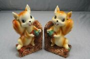 Kitschy 1950s Ceramic Squirrel Light Weight Bookends/decor Figurines Vtg.