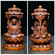 Small Antique Wood Carving Boxwood Wooden Sculpture Buddha Three Dharma Statue
