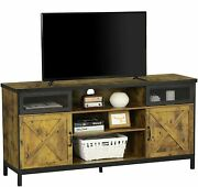 Farmhouse Tv Stand W/sliding Barn Door Console Table Storage For Tvs Up To 65