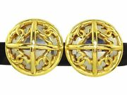 Gold-tone Coco Mark Round Clip-on Earrings Vintage Women Q1341