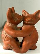 Pre Columbian Style Colima Dancing Dogs Sculpture Mexican Pottery Folk Art
