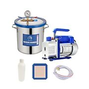 5 Gallon Tempered Glass Lid Vacuum Chamber With Pump, Stainless Steel Degassing