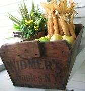 Antique Wooden Table Box/apple Box W/canted Sides Graphics Widmers Naples Ny