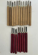 Vintage Lot-19 Woodworking Chisels Carving Tools Craftsman Used Made In Japan