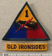 2 Old Ironsides Us Army 1st Armored Division Uniform Badge Patches Segment Tab