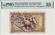 General Bank Of Communications China 1 1909 Canton Cancelled Pmg 55