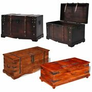 Vintage Large Reclaimed Wooden Storage Chest Blanket Box Trunk Brown Multicolour